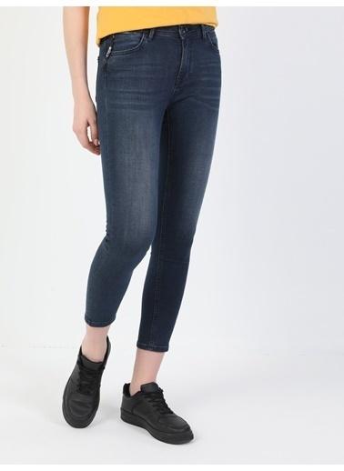 Colin's 759 Lara Orta Bel Dar Paça Super Slim Fit Koyu Mavi Kadın Jean Pantolon Lacivert